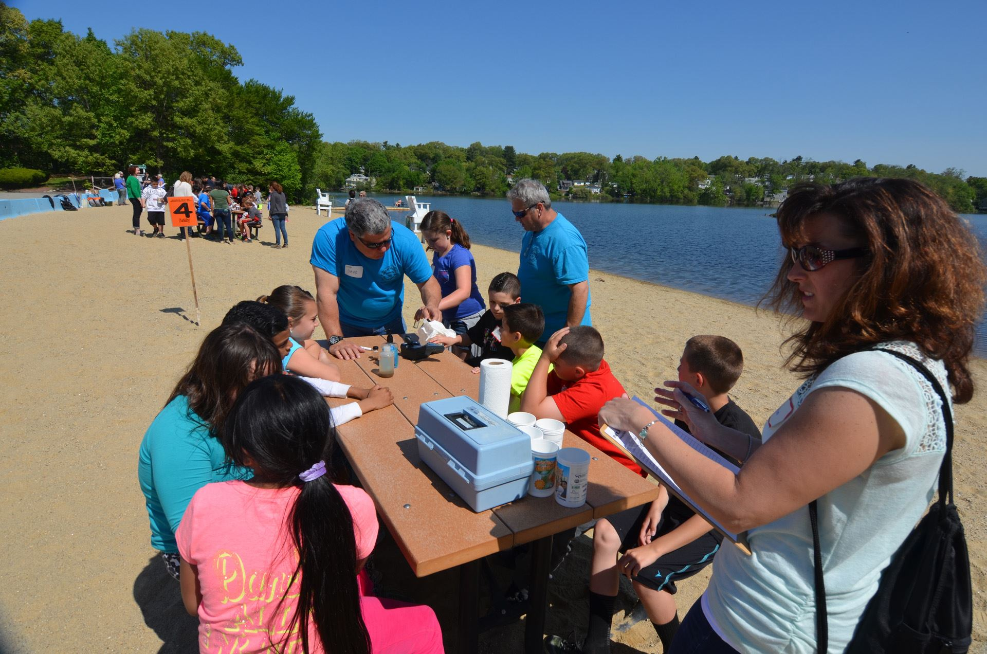 Treatment plant staff educating students at Nuttings Lake on World Water Monitoring Day.