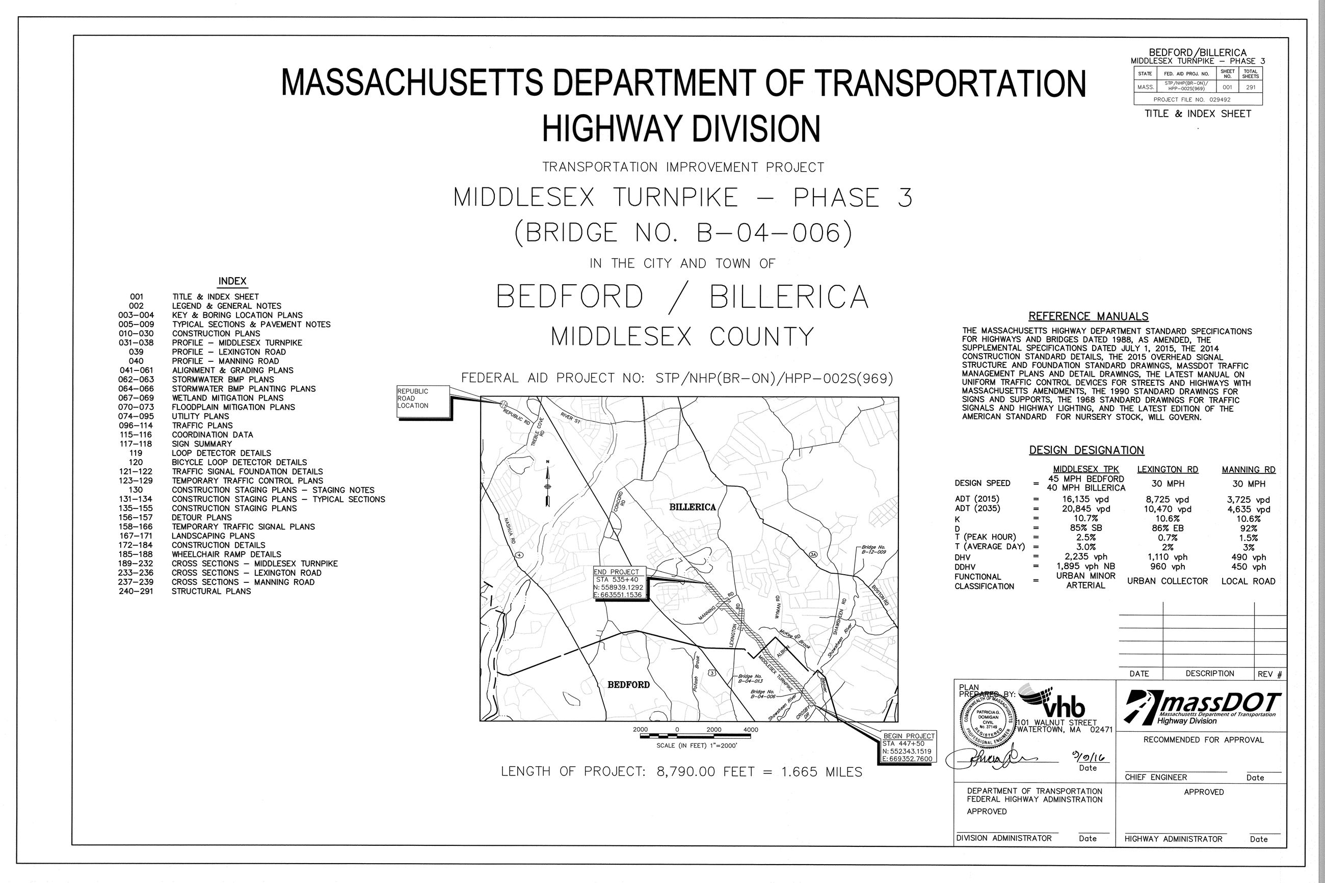 Middlesex Turnpike Construction Plans